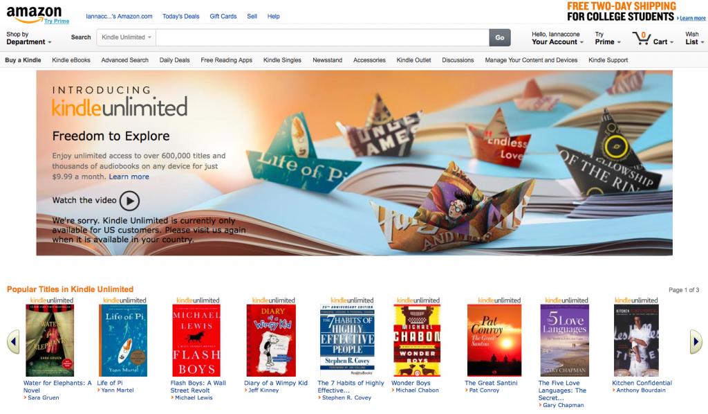 Amazon Kindle Unlimited parte negli USA